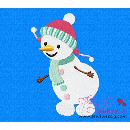 Cute Snowman-1 Embroidery Design