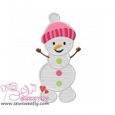 Cute Snowman-2 Applique Design