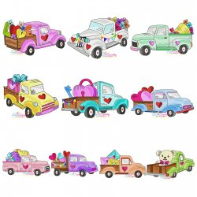 Valentine Trucks Embroidery Design Bundle Pattern- Category- Embroidery Design Bundles- 1