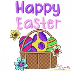 Happy Easter Eggs Basket Embroidery Design