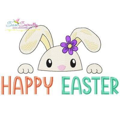 Happy Easter Bunny Peeking Embroidery Design