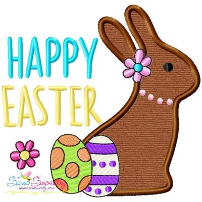 Happy Easter Chocolate Bunny Eggs Applique Design