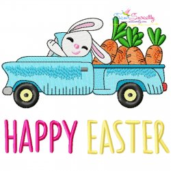 Happy Easter Bunny Truck With Carrots Embroidery Design Pattern- Category- Easter Designs- 1