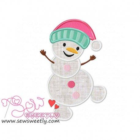 Cute Snowman-4 Applique Design