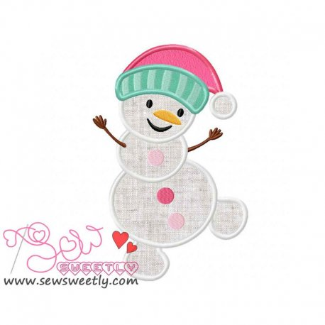 Cute Snowman-4 Applique Design