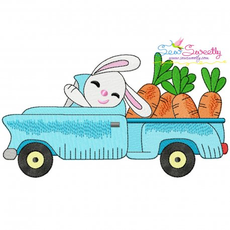 Easter Bunny Truck With Carrots Embroidery Design Pattern- Category- Easter Designs- 1