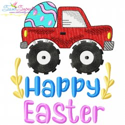 Happy Easter Monster Truck With Egg Embroidery Design Pattern- Category- Easter Designs- 1