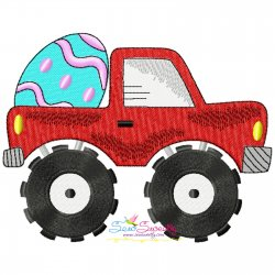 Easter Monster Truck With Egg Embroidery Design Pattern- Category- Easter Designs- 1