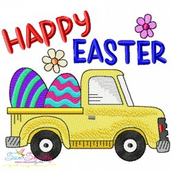 Happy Easter Truck With Eggs Embroidery Design Pattern- Category- Easter Designs- 1