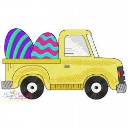 Easter Truck With Eggs Embroidery Design