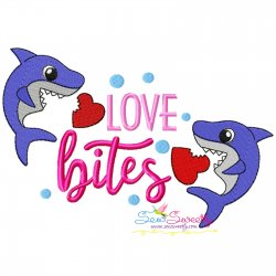 Valentine Love Bites Shark Embroidery Design
