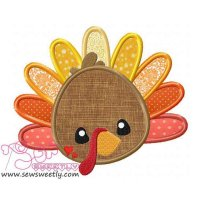 Cute Turkey Applique Design