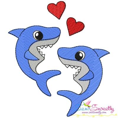 Valentine Sharks Embroidery Design