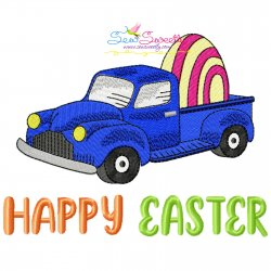 Happy Easter Truck With Egg Embroidery Design Pattern- Category- Easter Designs- 1
