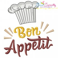 Bon Appetit Kitchen Lettering Embroidery Design