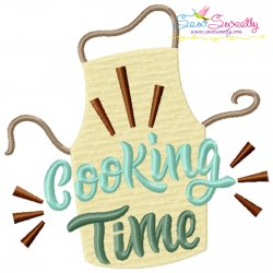 Cooking Time Kitchen Lettering Embroidery Design
