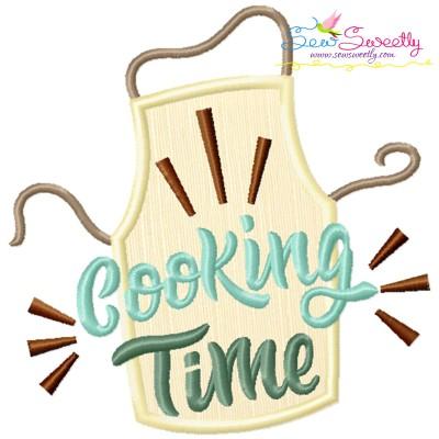 Cooking Time Kitchen Lettering Applique Design