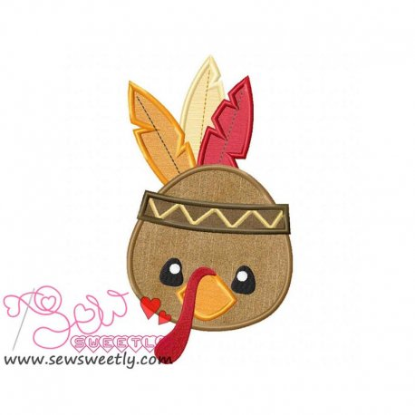 Cute Native American Turkey Applique Design