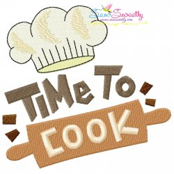 Time To Cook-1 Kitchen Lettering Embroidery Design