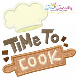 Time To Cook-1 Kitchen Lettering Applique Design