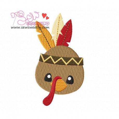 Cute Native American Turkey Embroidery Design