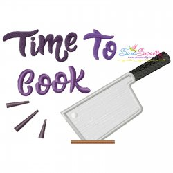 Time To Cook-2 Kitchen Lettering Applique Design