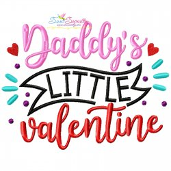 Daddy's Little Valentine Lettering Embroidery Design Pattern- Category- Valentine's Day Designs- 1