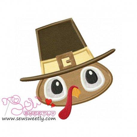 Cute Pilgrim Turkey Boy Applique Design