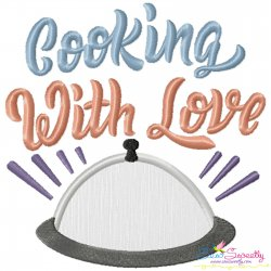 Cooking With Love Kitchen Lettering Applique Design