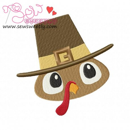 Cute Pilgrim Turkey Boy Embroidery Design