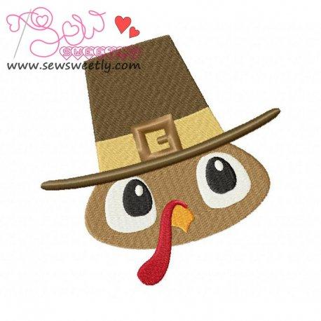 Cute Pilgrim Turkey Boy Embroidery Design