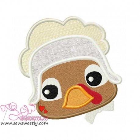 Cute Pilgrim Turkey Girl Applique Design