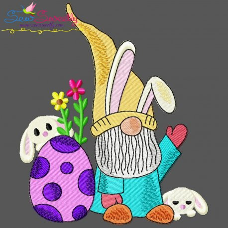 Easter Gnome And Bunny-9 Embroidery Design