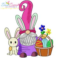 Easter Gnome And Bunny-10 Embroidery Design