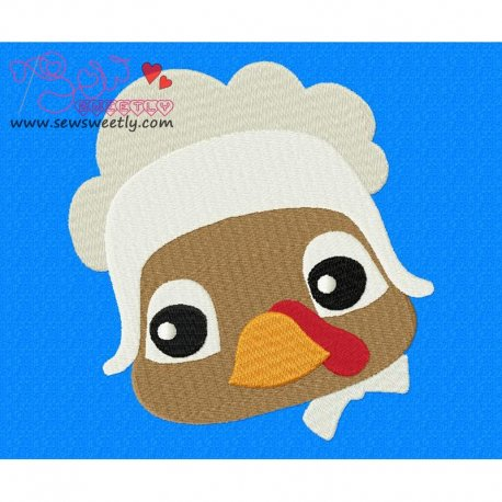 Cute Pilgrim Turkey Girl Embroidery Design