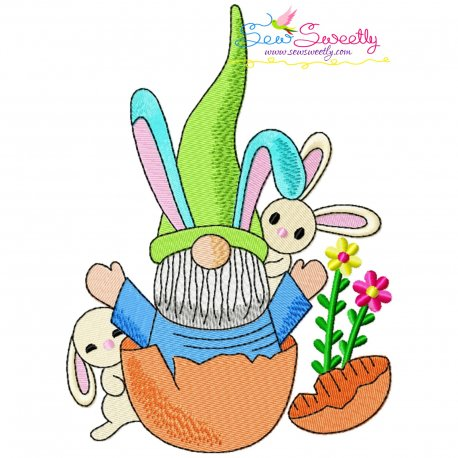 Easter Gnome And Bunny-7 Embroidery Design