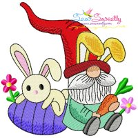 Easter Gnome And Bunny-5 Embroidery Design