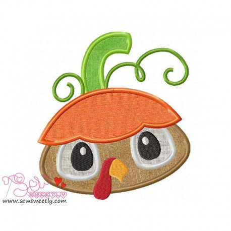 Pumpkin Top Turkey Applique Design Pattern- Category- Fall And Thanksgiving- 1