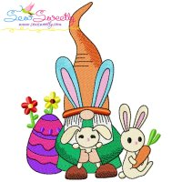 Easter Gnome And Bunny-4 Embroidery Design