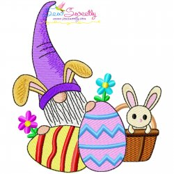 Easter Gnome And Bunny-3 Embroidery Design