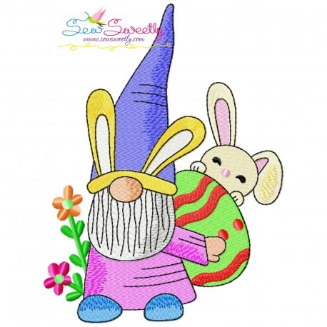 Easter Gnome And Bunny-2 Embroidery Design