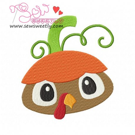 Cute Pumpkin Top Turkey Embroidery Design For Thanksgiving