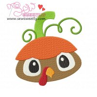 Pumpkin Top Turkey Embroidery Design