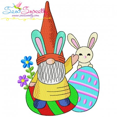 Easter Gnome And Bunny-1 Embroidery Design Pattern- Category- Easter Designs- 1