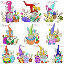 Easter Gnomes And Bunnies Embroidery Design Bundle Pattern- Category- Embroidery Design Bundles- 1