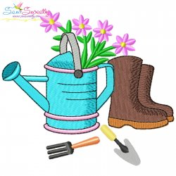 Spring Watering Can And Boots Embroidery Design