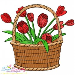 Spring Flowers Basket-1 Embroidery Design