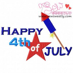 Happy 4th of July-2 Embroidery Design