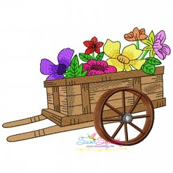 Spring Flowers Cart Embroidery Design