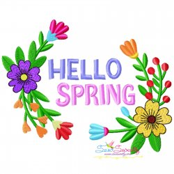 Hello Spring Flowers-1 Embroidery Design